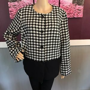 Talbots black and white full button up blazer 16w
